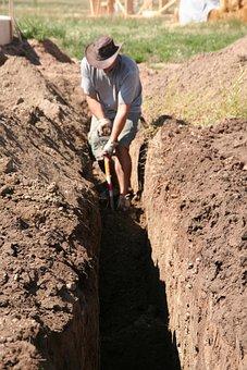 Digging, Man, Work, Working, Sewage, Plumbing, Shovel