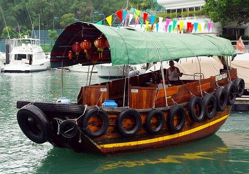 Sampan, China, Hong Kong, Victoria Harbor, Port, Ship