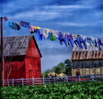 Amish Farm, Rural, Horse, Field, Barn, Shed, Wagon