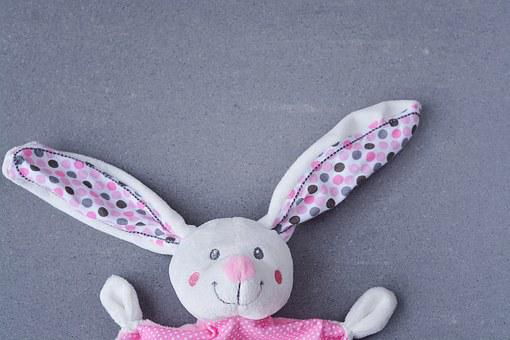 Hare, Fabric Bunny, Security Blanket, Doudou, Pink