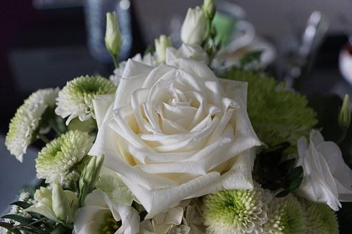 Rose, White, Flower, Strauss, Wedding, Birthday, Gift