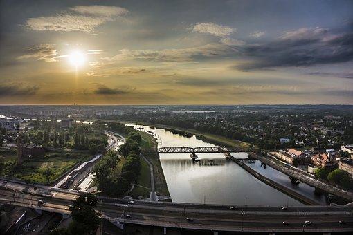 Sunset, River, Bridge, Odra, Wroclaw, Old, Pattern