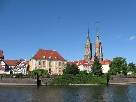 Wrocław, Ostrów Tumski, River, The Cathedral, Poland