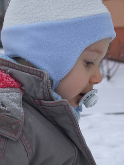 A Small Child, Winter, A Cap, The Teat, Blue