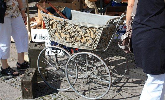 Baby Carriage, Doll Prams, Antique, Flea Market, Box