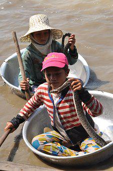 Child, Snake, Boat, Asia, Vacations, Water, Southeast
