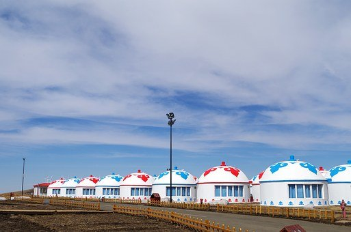 Yurts, Inner Mongolia, Mongolia, Blue Sky, White Cloud