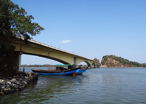 Kali River, Boats, Karwar, India, Bridge, Architecture