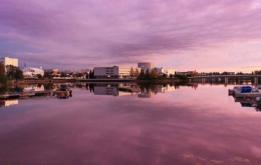 Oulu, Finland, Sunset, Buildings, River, Water