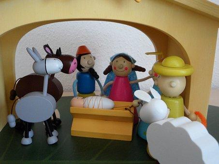 Crib, Christmas Crib Figures, Children, Christmas