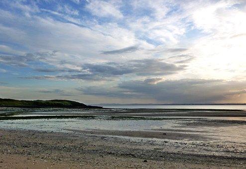 Shoreline, Coast, Beach, Sunset, Evening, Low Tide