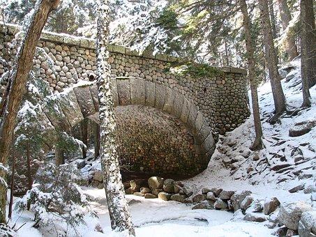 Acadia National Park, Maine, Stream, Creek, Bridge