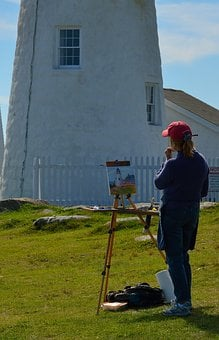 Lighthouse, Acadia, Maine, Drawing, Artist, Outdoors