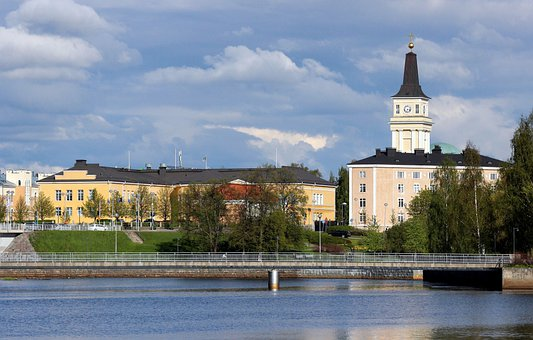 Oulu, Finland, Sky, Clouds, Church, Buildings