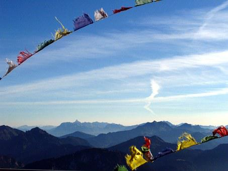Mountain, Flag, Summit, Dent D'oche, Alpes, Peak
