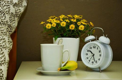 Cup, Bed, Flowers, Recovery, Ill, Alarm Clock