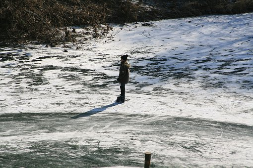 Ice, Winter, River, Frozen, Skate, Cold, Child, Lahn