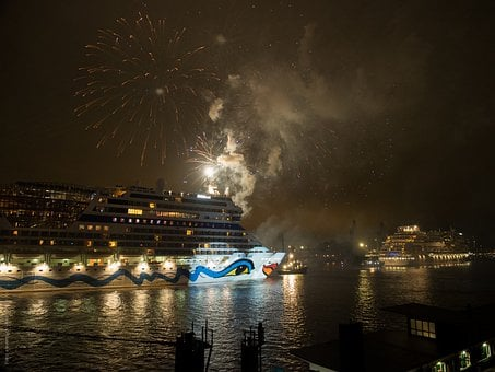Hamburg, Night, Hafengeburtstag, Cruise Ship, Germany