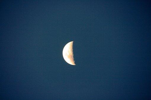 Half Moon, Nightsky, Moon, Luna, Sky, Lunar, Night