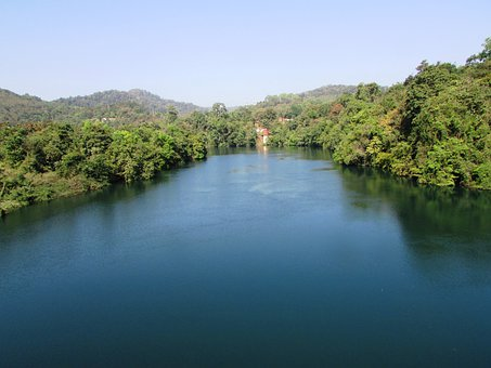 Kali River, Dandeli, India, River, Water, Bend