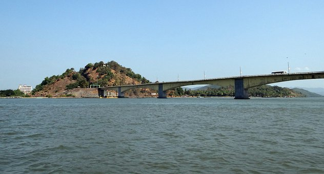 Kali River, Bridge, Estuary, Hill, Karwar, India