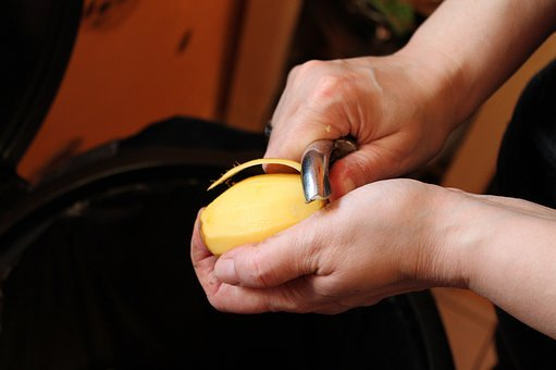 Peel Potato, Hands, Potato, Kitchen Work, Potato Peeler