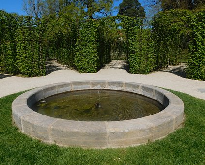 Fountain, Labyrinth, Green, Course, Romantic