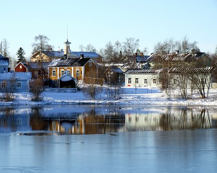 Oulu, Finland, River, Lake, Water, Buildings, Winter