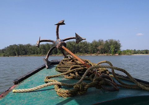Anchor, Iron, Rusted, Motor Boat, Arabian Sea, Ropes