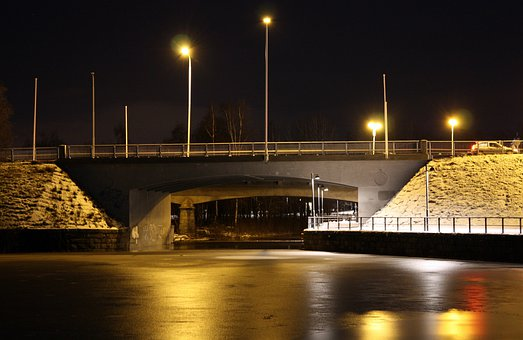 Oulu, Finland, Bridge, Night, Evening, Sky, River