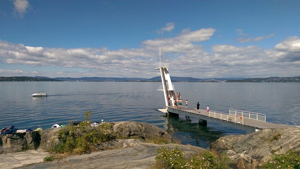 The Oslo Fjord, Oslo, Diving Board, Boat, Norway