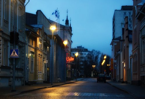 Oulu, Finland, City, Urban, Night, Evening, Lights