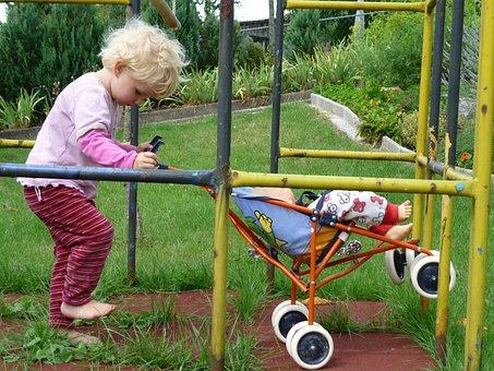Girl, Child, Play, Doll Prams, Playground, Blond