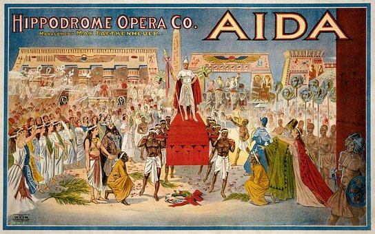 Aida, Poster, Giuseppe Verdi, Hippodrome, Opera