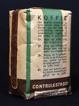 Coffee, Package, Paper, Bag, Product, Old, Dutch