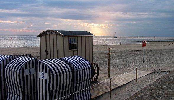Norderney, Registry Office, Abendstimmung, Sunbeam, Sea