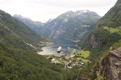 Norway, Geiranger Fjord, Cruise, Shipping, Ship