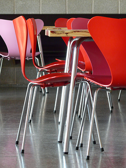 Chair, Chair Base, Table, Metal, Plastic, Colorful, Sit