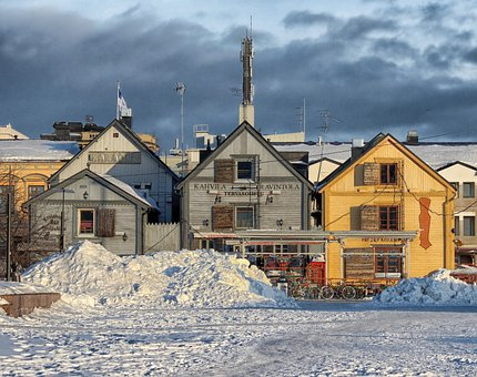 Oulu, Finland, City, Cities, Store, Shops, Winter, Snow