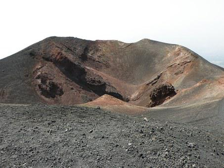 The Crater, Volcano, Etna, Ash, Slag