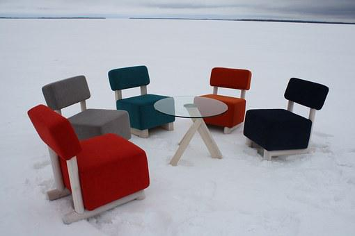 Furniture, Chairs, The Outer, In Oulu Lake, Frost