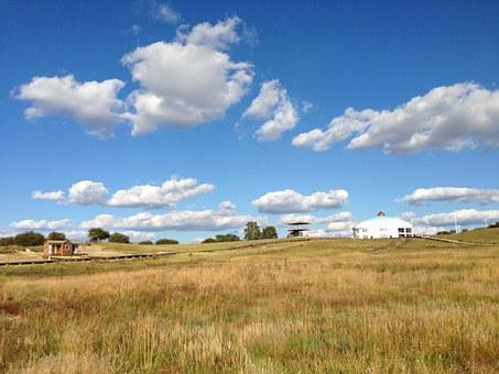 Prairie, The Scenery, Yurts, Blue Sky And White Clouds