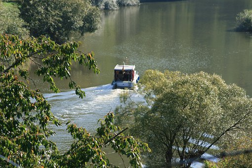 River, Boot, Water, Nature, Waters, Trees, Valley, Lahn