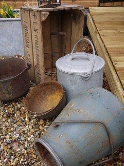Bucket, Zinc, Container, Metal, Equipment, Vintage