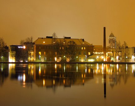 Oulu, Finland, City, Cities, Night, Evening, Water