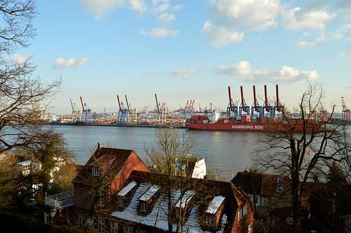 Elbe, Hamburg, Port, Harbour Cranes, Elbe Beach