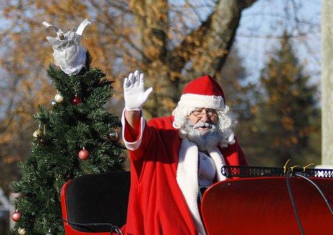 Santa, Parade, Christmas, Celebration, Holiday, Claus