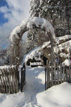 Archway, Winter, Input, Garden, Fence, Garden Fence