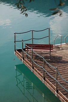 Italy, Lago Di Ledro, Jetty, Bank, Rest, Water