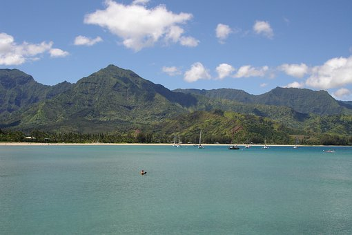 Hawaii, Landscape, Turquoise, Water, Ocean, Mountains
